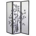 3-Panel Room Divider Privacy Screen with Bamboo Design Black White Q280-BWRD7905