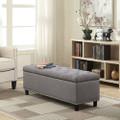 Grey Linen 48-inch Bedroom Storage Ottoman Bench Footrest Q280-BRGCTO159821