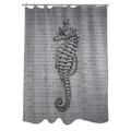 Woven Polyester Bathroom Shower Curtain with Gray Seahorse Q280-VSC51984151