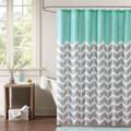 Teal Grey White Zig Zag Chevron Microfiber Shower Curtain Q280-NMPS519815