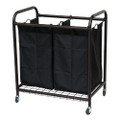 Bronze Laundry Hamper Cart with 2 Black Sorter Bags Q280-BRLS12539527