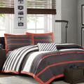 Twin / Twin XL Comforter Set in Dark Gray Orange White Stripes Q280-MACG43495