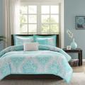 Twin / Twin XL Aqua Teal Turquoise Blue White Modern Damask Comforter Set Q280-TWSC5498424751