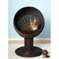 Fancy Cat Espresso Wicker Modern Cat Bed Lounge Q280-RFKBB1488