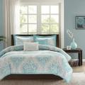 Twin / Twin XL Comforter Set in Light Blue White Grey Damask Pattern Q280-TLBDAC98727951