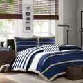 Full / Queen size Comforter Set in Navy Blue White Khaki Stripe Q280-MACSFQ5177