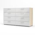 White Modern Bedroom 8-Drawer Double Dresser with Oak Finish Sides and Top Q280-WDBTLS852318
