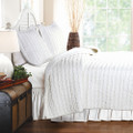 King size 3-Piece Quilt Set with 2 Pillow Shams 100% Cotton White Ruffles Q280-GHK90031