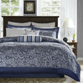 California King 12-piece Reversible Cotton Comforter Set in Navy Blue and White Q280-NVBCALKCWS47891
