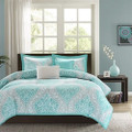 Full / Queen Teal Turquoise Aqua Blue and White Damask Comforter Set Q280-FQBDC898541859