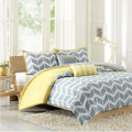 Full/Queen 5-Piece Chevron Stripes Comforter Set in Gray White Yellow Q280-CSFQ54815