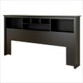 King size Bookcase Headboard in Black Wood Finish Q280-KSBH17340