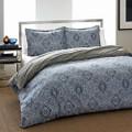 King 3-Piece Cotton Comforter Set with Blue Grey Damask Pattern Q280-CSMBC83691