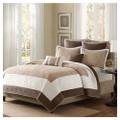 Full / Queen Brown Ivory Tan Cream 7 Piece Quilt Coverlet Bedspread Set Q280-FQA7PCSMP