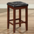Set of 2 - Vintage Mahogany Bar Stools with Faux Leather Cushion Seat Q280-CMB98015