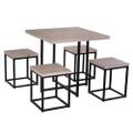 Farmhouse 5 Piece Square Natural Wood Steel Kitchen Dining Set Q280-HOBLNSE5369