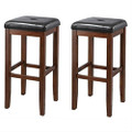 Set of 2 Vintage Mahogany Stools with Black Upholstered Seat Q280-SOFHYC4758921