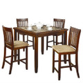Casual 5-Piece Dining Set with Microfiber Padded Counter Height Stools Q280-NPCHDS198425