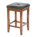 Set of 2 - 24-inch High Cherry Bar Stools w/ Cushion Faux Leather Seat Q280-CB984484586