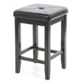 Set of 2 - Black Bar Stools 24-inch High w/ Cushion Faux Leather Seat Q280-CBS2648156