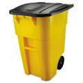 50 Gallon Yellow Commercial Heavy-Duty Trash Can with Black Lid Q280-E24GKY88311