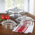 6-Piece Round Glass Casserole Cookware Bakeware Set with Lids Q280-LRGCS519815
