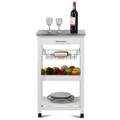 White Kitchen Cart with Storage Drawer and Stainless Steel Top Q280-RKTSBDC52951404