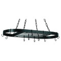 Oval Hanging Pot Rack with Chains and 2 Hooks in Matte Black Q280-ODHPR51381