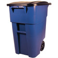 50 Gallon Blue Commercial Heavy-Duty Rollout Trash Can Waste/Utility Container Q280-E24GKC88311