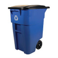 50 Gallon Blue Commercial Heavy-Duty Rollout Recycler Trash Can Container Q280-RECYC88311