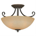 Ceiling Light Fixture 14.5 x 10-inch Classic Bronze with Amber Glass Q280-HCLB36015