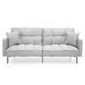 Plush Gray Split-Back Design Convertible Linen Tufted Futon w/ 2 Pillows Q280-GRFMGF8088