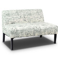 Modern Loveseat Sofa with Off-White Cursive Pattern Upholstery and Black Wood Legs Q280-LRWLS1359471