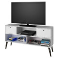Mid-Century Modern Entertainment Center TV Stand in White Grey Wood Finish Q280-MCTRDECO987411