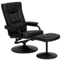 Black Faux Leather Recliner Chair with Swivel Seat and Ottoman Q280-FLROB109