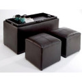 Faux Leather Storage Bench Coffee Table with 2 Side Ottomans Q280-CCSFLSB109