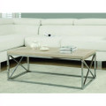 Contemporary Chrome Metal Coffee Table with Natural Finish Wood Top Q280-MRN58618914