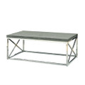 Modern Coffee Table with Chrome Metal Frame and Dark Taupe Wood Top Q280-MCTB519815