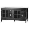 Black Wood TV Stand with Glass Panel Doors for up to 50-inch TV Q280-BWMTVSD15838914