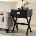 Modern 1-Drawer Bedside Table Nightstand End Table in Black Wood Finish Q280-LETBD971566321