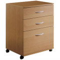 Contemporary 3-Drawer Mobile Filing Cabinet in Natural Maple Finish Q280-N3DMF108501
