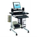 Mobile Compact Computer Cart Desk with Keyboard Tray Q280-TMCG550