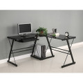 Black Metal L-Shaped Corner Computer Desk with Glass Top Q280-HLC3PCD143