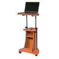 Mobile Sit Down Stand Up Desk Adjustable Height Laptop Cart in Wood-grain Finish Q280-WGAHSUD987541