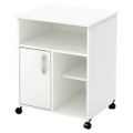 Modern Home Office Printer Stand Cart with Casters in White Q280-SAPSW8735