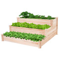 Solid Wood 4 Ft x 4 Ft Raised Garden Bed Planter 3-Tier Q280-TEWGBP586931