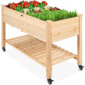 Solid Wood Locking Wheels Raised Mobile Garden Wood Planter Elevated Planter Q280-MRGBBCP88