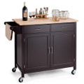 Brown Kitchen Island Storage Cart with Wood Top and Casters