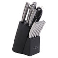Oster Wellisford 14 Piece Stainless Steel Cutlery Set with Black Rubber Wood Block