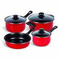 Gibson Home Chef Du Jour 7-Piece Cookware Set, True Red
